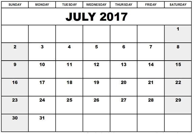 July 2017 printable calendar, July 2017 calendar printable