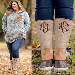 monogrammed tall duck boots with monogrammed sherpa hoodie