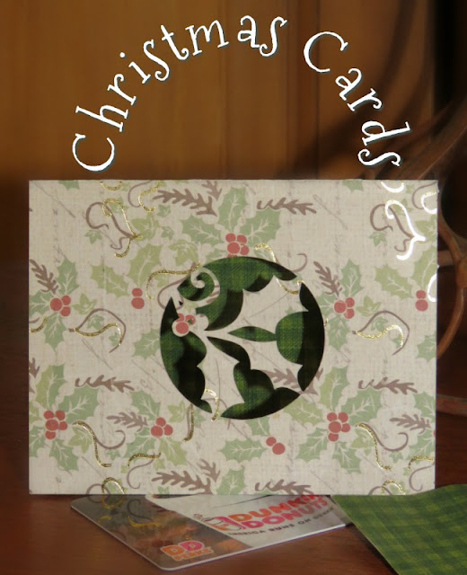 Christmas Card note, tag, and gift 3 in 1 Cards. Card Stock is printed with holly or green plaid.