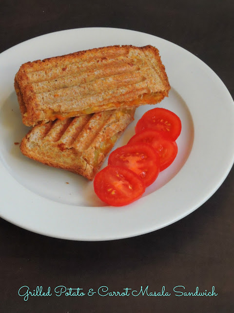 Grilled Sandwich,Grilled Cheesy Potato & Carrot Masala Sandwich