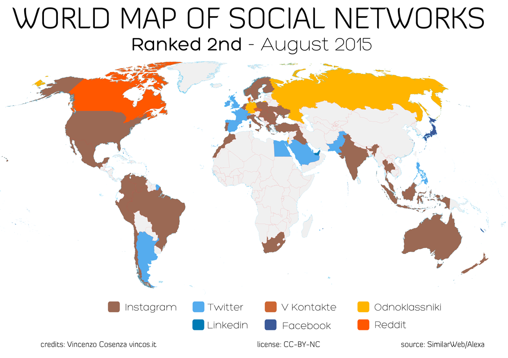 Second most popular social network by country