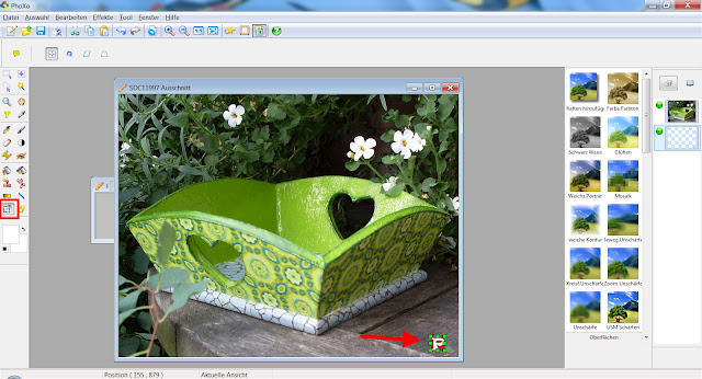 Screenshot PhoXo zum Verschieben von Objekten