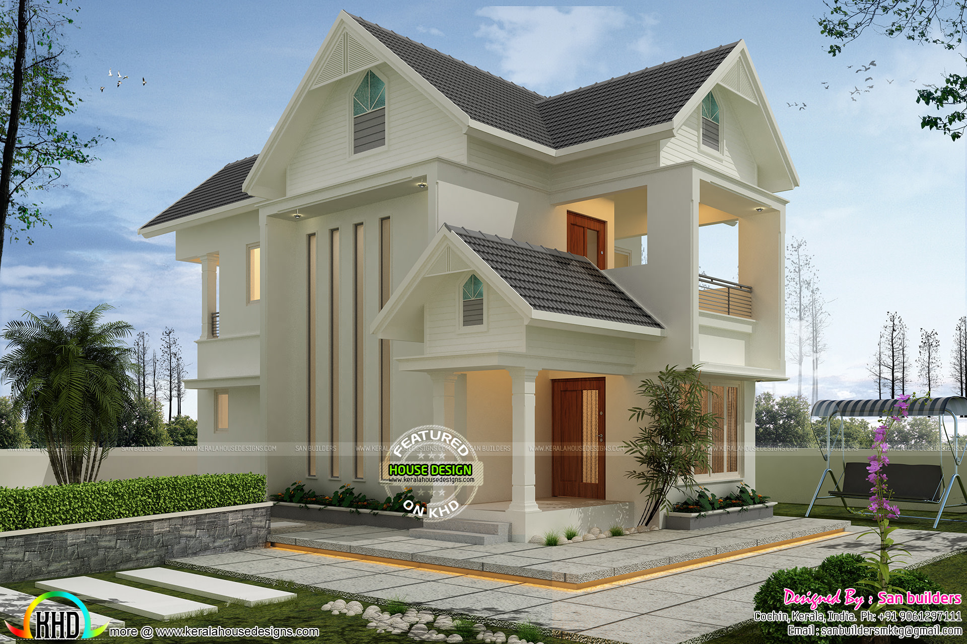 Super cute modern home 2000 sq-ft - Kerala home design and ...