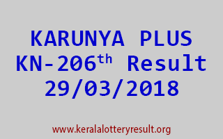 KARUNYA PLUS Lottery KN 206 Results 29-03-2018