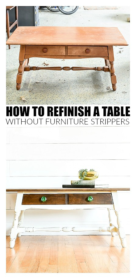 Before and After refinished coffee table