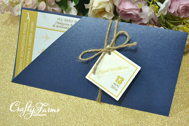 Gold and Blue Boarding Pass Wedding Cards