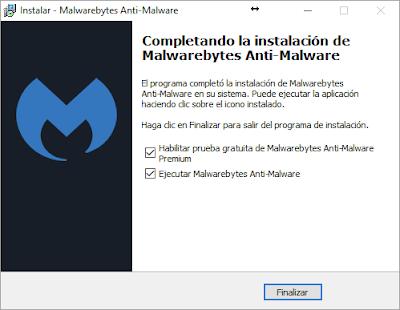 Finalizar instalación Malwarebytes