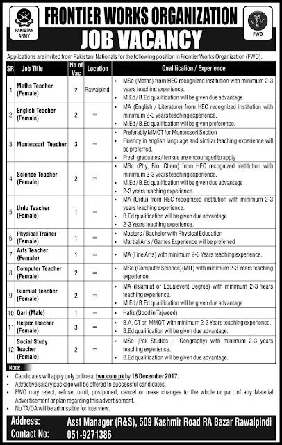 Frontier Works Organization Schools Rawalpindi Jobs