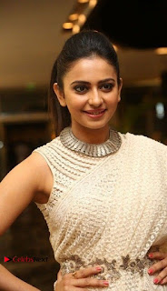 Actress Rakul Preet Singh Stills in White Dress at Winner Pre Release Function  0006.jpg
