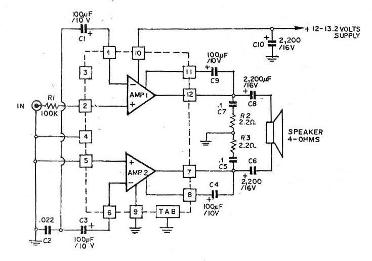 ha1377 bridge amplifier bcl cap 17w car audio