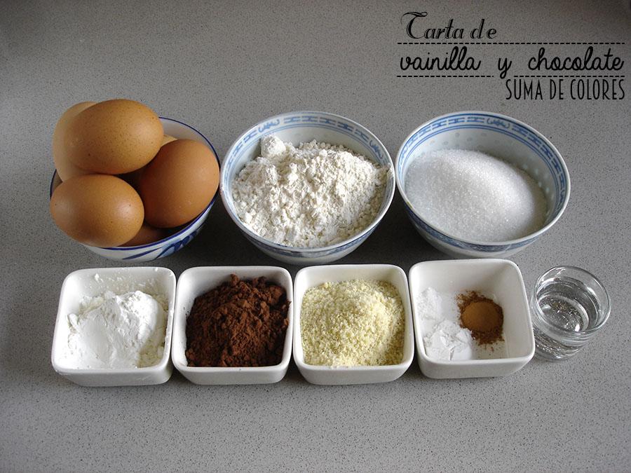 Tarta de vainilla y chocolate (Ingredientes)