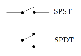 Symbol for SPST and SPDT switches