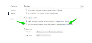 Show advanced settings in Chrome browser