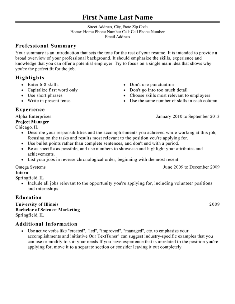 Resume Template Samples Resume Templates And Resume Builder. Free ...