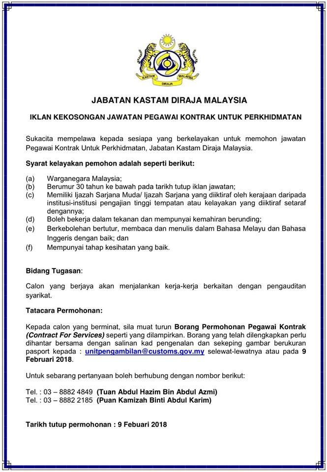 Jawatan Kosong Di Jabatan Kastam Diraja Malaysia Pegawai Perkhidmatan Terbuka Jobcari Com Jawatan Kosong Terkini