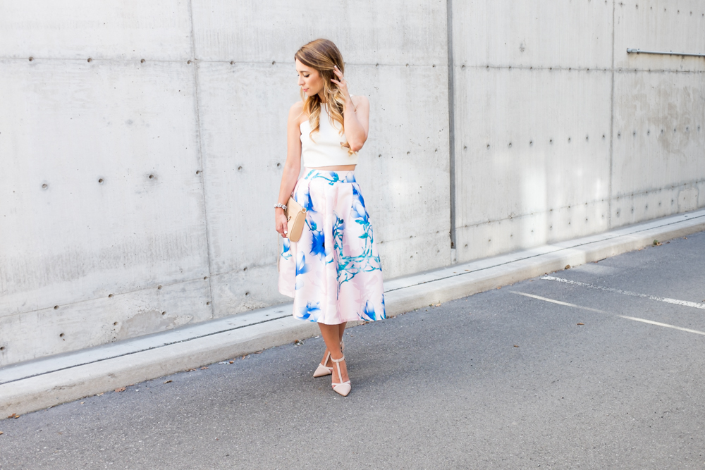 blush floral midi skirt white crop top outfit