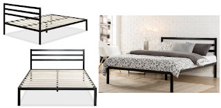 Stunning Zinus Modern Studio Metal Platform Bed with Headboard Size Queen Reg Free Shipping Also full size available for
