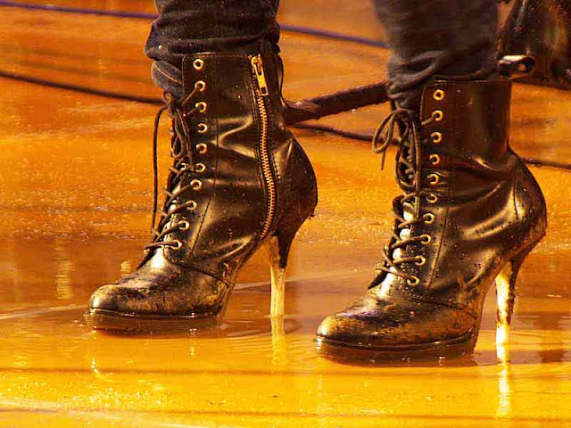 high heels, boots, laces, zippers, rock  band