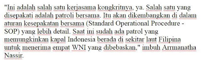 Alhamdullilah Sudah Selesai Dilakukan Serah Terima 4 WNI yang sebelumnya sempat diSandera Abu Sayyaf di Perairan Perbatasan Filipina-Indonesia - Naon Wae News