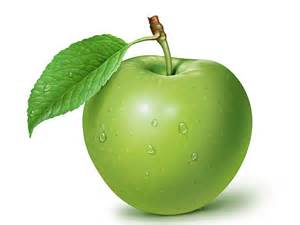 """Green apple with leaf"""
