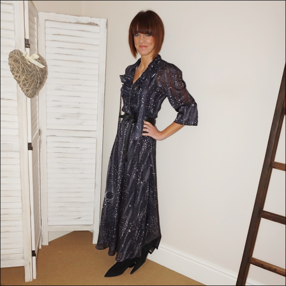 my midlife fashion, lily and lionel galaxy maxi dress, isabel marant etoile leather wrap belt, find ark womens boots