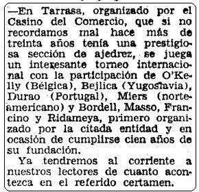 Recorte de Mundo Deportivo sobre el I Torneo Internacional de Terrassa 1960