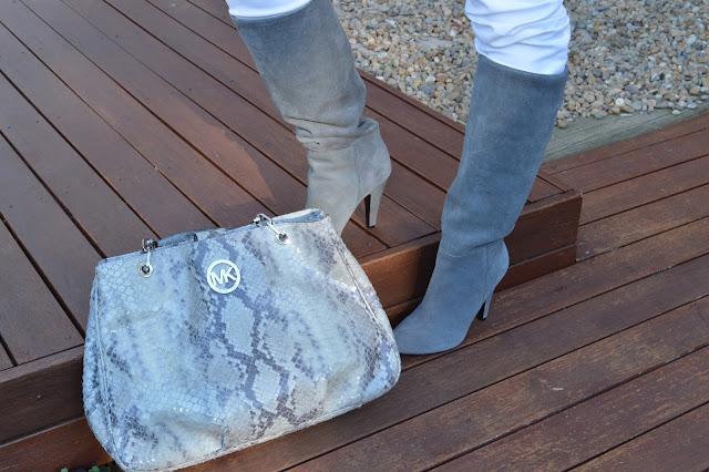 Sydney Fashion Hunter #42 - Glam Grey - Steve Madden Grey Suede Boot & Michael Kors Gret Tote