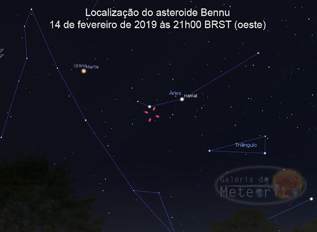 localização do asteroide Bennu em 14 de fevereiro de 2019 às 21h00