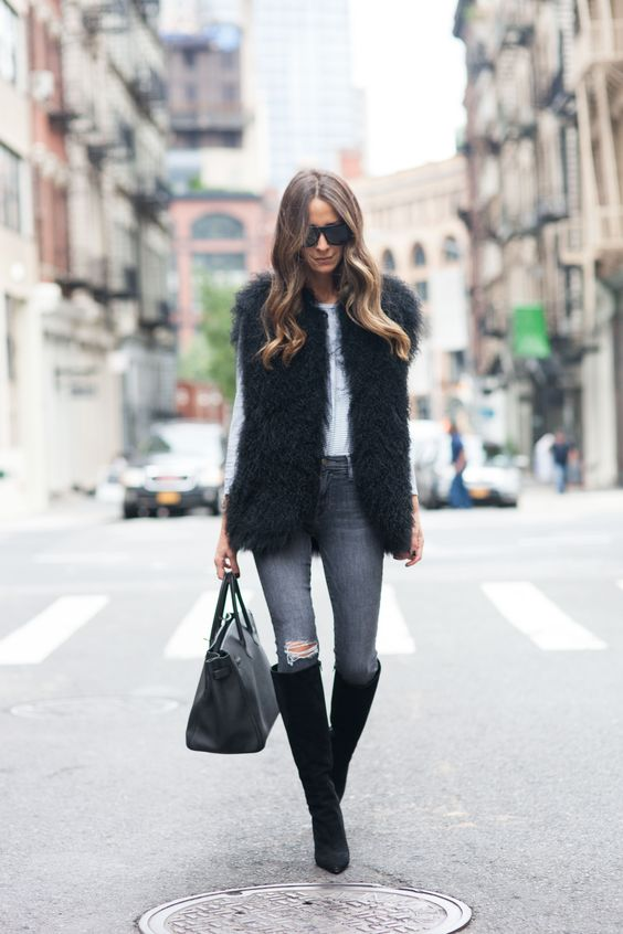 Something Navy, Grey Ripped Jeans, Celine Bag, T-shirt Dress, Black Cap, Black Suede Over the Knee Boots