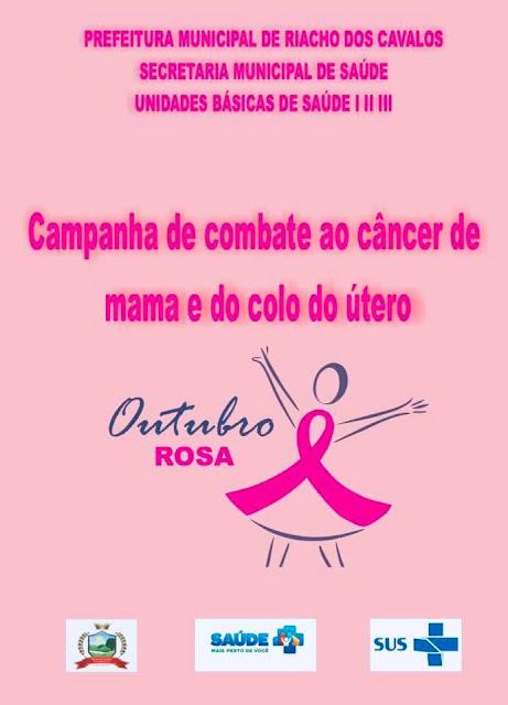 Dia D de combate ao câncer de mama e do Colo do útero, será realizado neste sábado em Riacho dos Cavalos