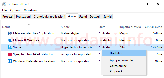 Task Manager Windows 10 disattivare programma in avvio