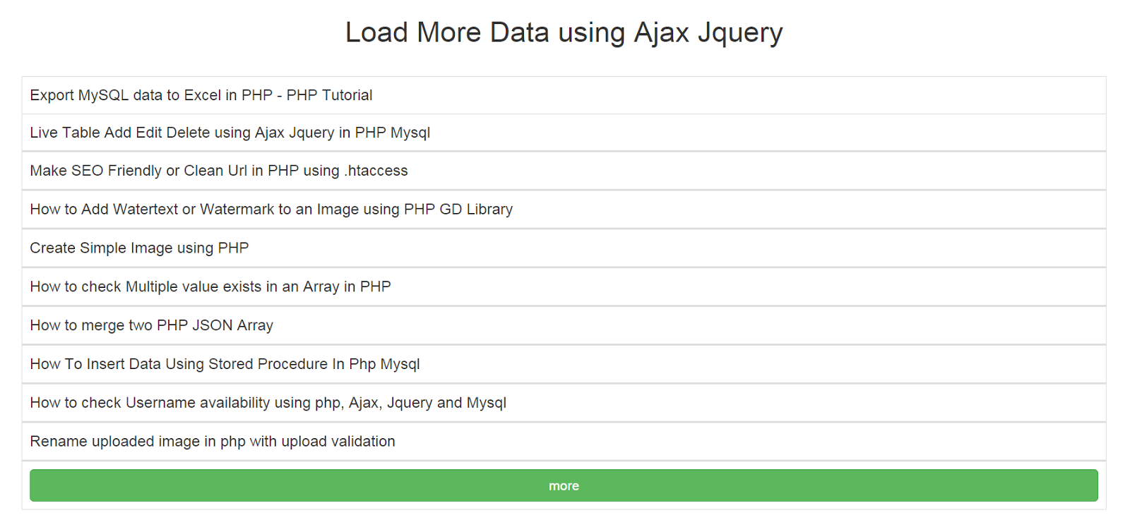 How to Load More Data using Ajax Jquery | Webslesson