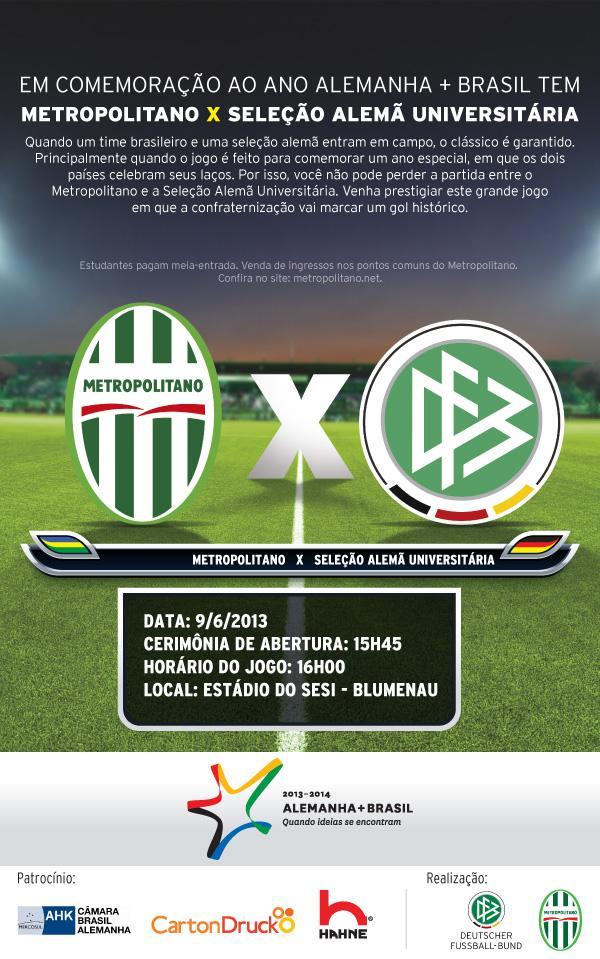 db7527f001 C. C. 25 de Julho de Blumenau  Seleção Universitária de Futebol da Alemanha  - Amanhã - no SESI
