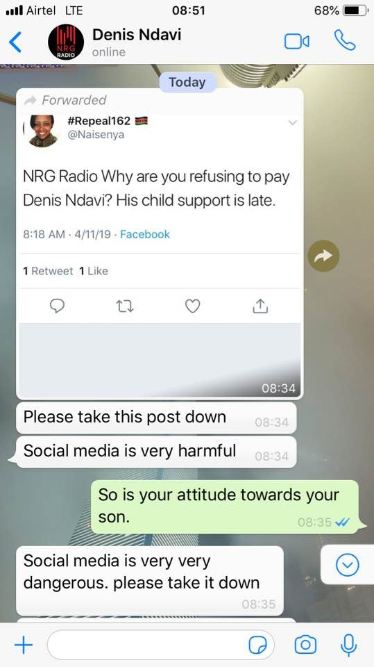 Steaming Hot Screenshots That Forced NRG's Denis Ndavi To Pay Delayed Child Support