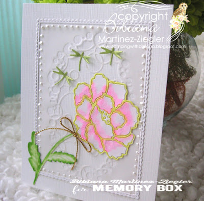 white peony inlay technique front card