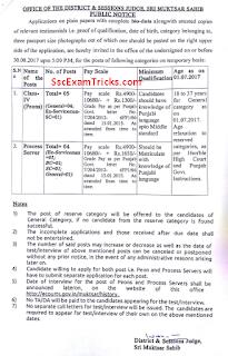 Sri Muktsar Sahib District Court Recruitment 2017