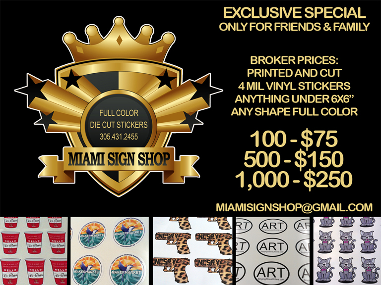Miami sign shop is your 1 source for professional signs printing sticker printing vinyl graphics banners business cards magnets posters and more