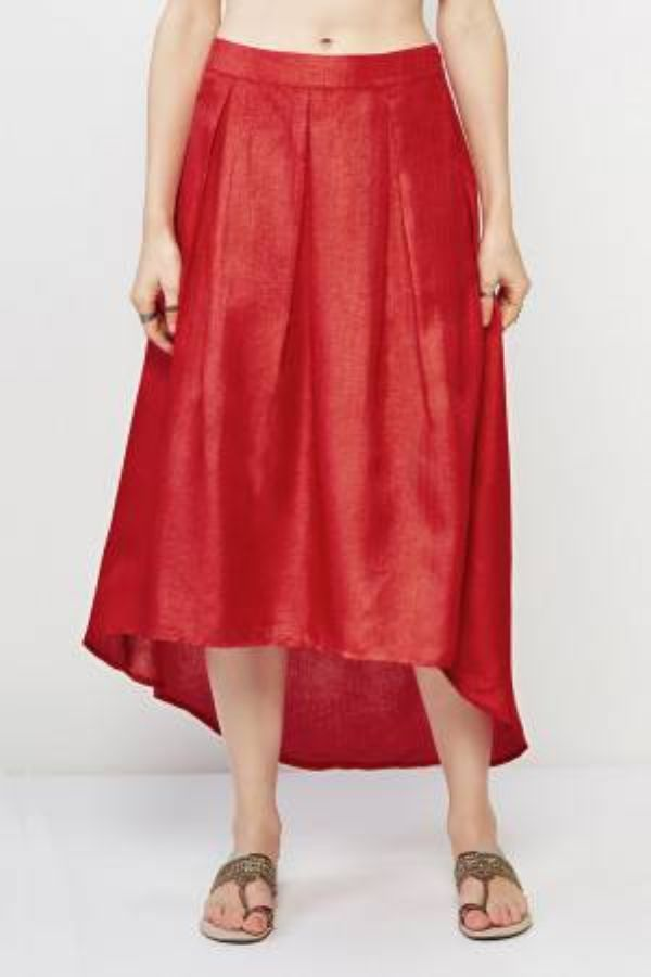 Amabel High-Low Red Skirt