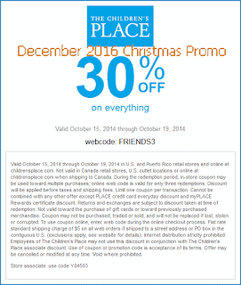 free Childrens Place coupons december 2016