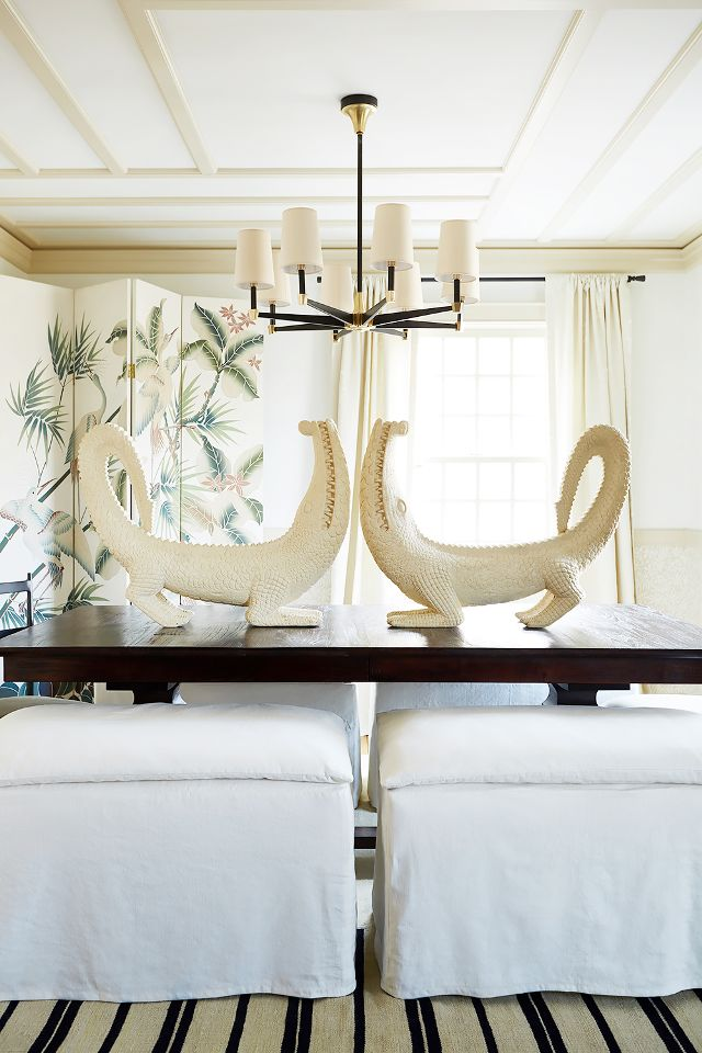 Gorgeous dining room with alligators on table in Connecticut farmuse of Debbie Propst of One King's Lane - found on Hello Lovely Studio