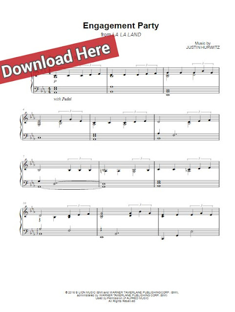 la la land, engagement party, sheet music, piano notes, chords, download, keyboard, klavier noten, voice, vocals
