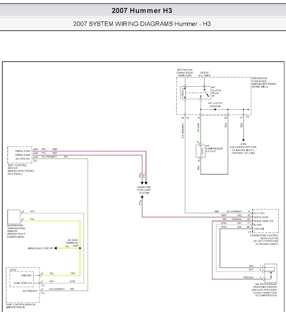 2007 Hummer H3 Air Conditioning System Wiring Diagrams
