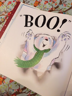 Inside the book, bear going boo!