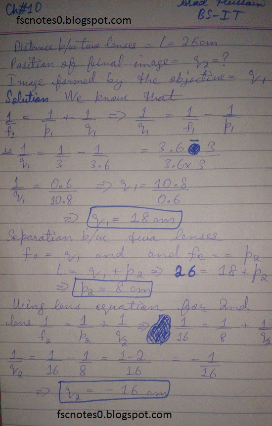 F.Sc ICS Notes: Physics XI: Chapter 10 Optical Instruments Numerical Problems Asad Hussain 3