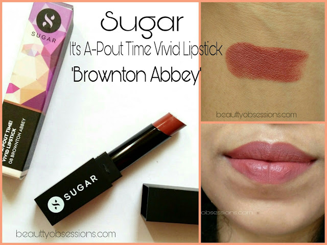 Sugar Cosmetics It's A-Pout Time Vivid Lipstick 08 Brownton Abbey  -  Review & Swatches
