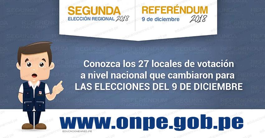 ONPE modificó 27 locales de votación a nivel nacional - www.onpe.gob.pe