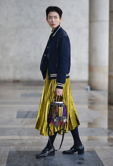 metallic skirt, pleated midi, bomber jacket, fall 2016, street style, spring 2016, trends, fashion week, NYFW, PFW, LFW, new york fashion week, paris fashion week, london fashion week