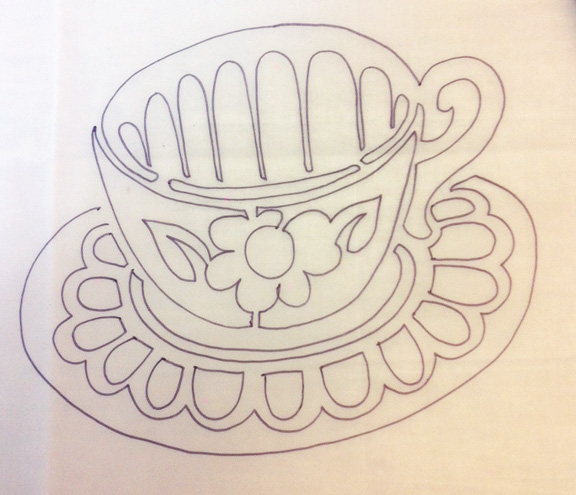 tea cup stencil drawing