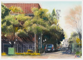 水彩画 恵比寿四丁目の街角 木を描くというテーマで制作しました