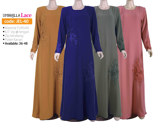 [JEL-40] Jubah Umbrella Lace Elegant, Limited Stock ツ